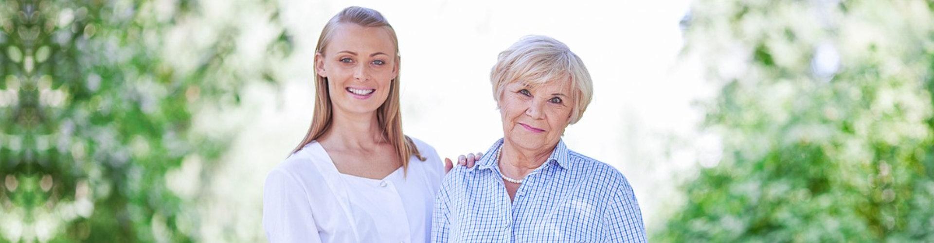 caregiver conducting facility tour